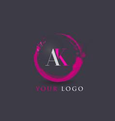 Ak letter logo circular purple splash brush vector