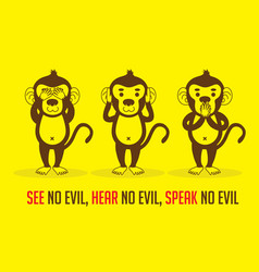 Three monkeys see hear speak vector