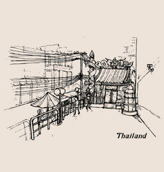 Thailand in sketch style hand drawing vector