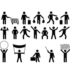 Human pictograms with different objects vector image