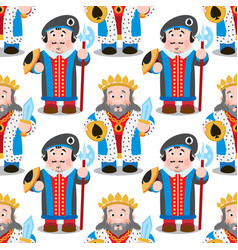 Seamless pattern with cartoon king and prince vector