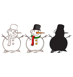 Three sketches of a snowman vector