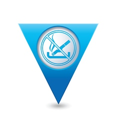 NO smoking BLUE triangular map pointer vector image