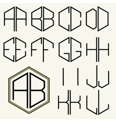 Set 1 template letters to create monograms vector image