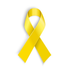 Yellow awareness ribbon on white background vector
