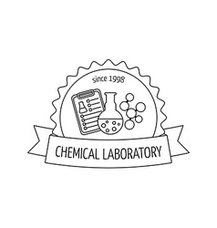 Logo and emblem for the chemical medical research vector
