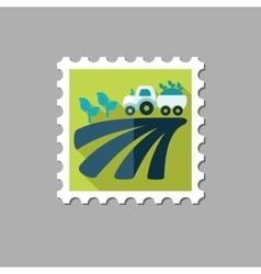 Tractor on field harvest seedling flat stamp vector