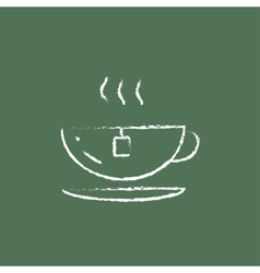 Cap of a hot tea icon drawn in chalk vector