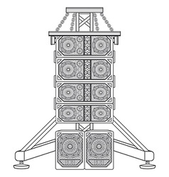 line array concert acoustics on truss suspension vector image