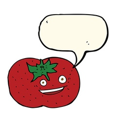 Cartoon tomato with speech bubble vector