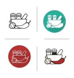 Spices flat design linear and color icons set vector