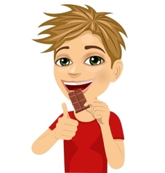 Cute boy eating chocolate showing thumbs up vector image