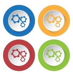 Set of four icons - three cogwheel vector