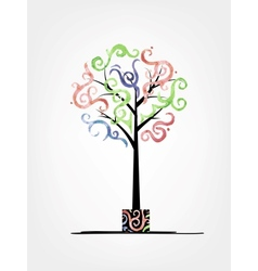 Art tree design with watercolor waves vector image vector image