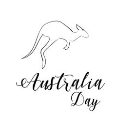 Australia day lettering Kangaroo vector image vector image
