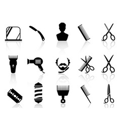 barber tools and haircut icons set vector image vector image