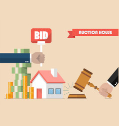 buying selling house from auction vector image vector image