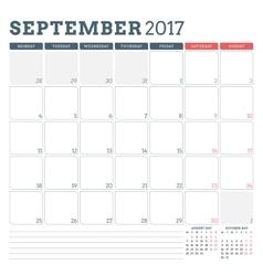 Calendar planner template for september 2017 week vector