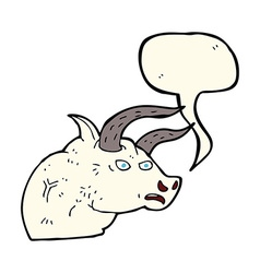 Cartoon angry bull head with speech bubble vector