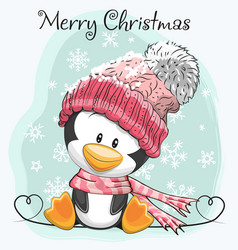 cute cartoon penguin in a hat vector image vector image