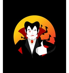 Dracula thumbs up shows well vampire winks sign vector
