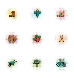 Farming icons set pop-art style vector