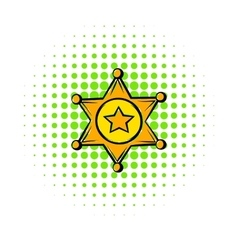 Golden sheriff star badge icon comics style vector
