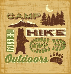 Hiking Camping design elements collage sign vector image