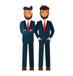 male business team bearded businessmen cartoon vector image
