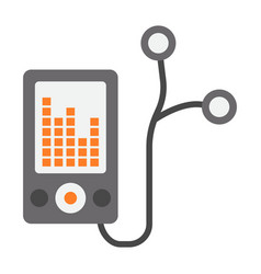 Mp player device flat icon fitness and audio vector