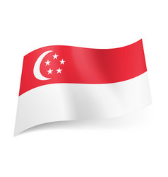 National flag of singapore red stripe with vector