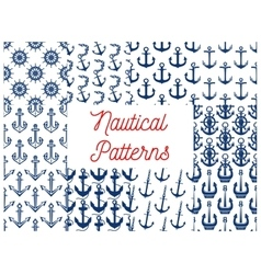Nautical patterns set with anchor icons vector image
