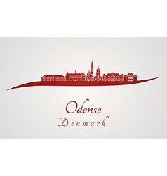 Odense skyline in red vector image vector image