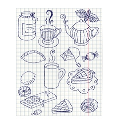 Paper sheet with ink drawing teatime set vector