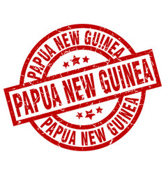 Papua new guinea red round grunge stamp vector
