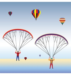Paragliding and hot air balloons in the sky vector