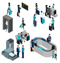 People in airport isometric vector