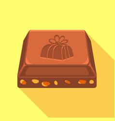 piece of chocolate icon flat style vector image vector image