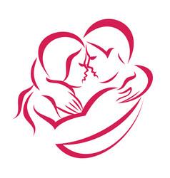 romantic love couple icon stylized symbol vector image vector image