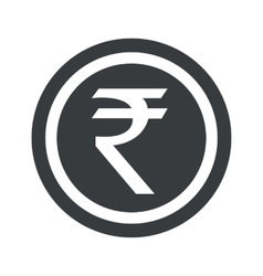 Round black rupee sign vector
