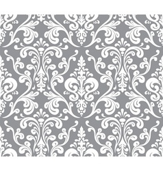 Seamless elegant damask pattern Grey and white vector image vector image