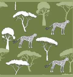 Seamless pattern with cheetah and savanna trees vector