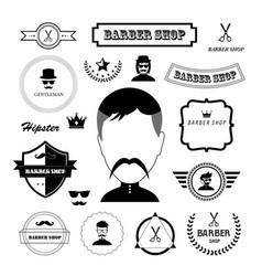 set of vintage barber badges and labels vector image vector image