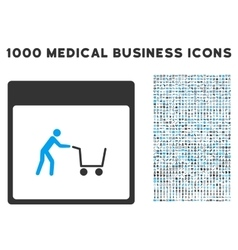Shopping cart calendar page icon with 1000 medical vector