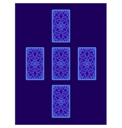 Simple cross tarot spread tarot cards back side vector