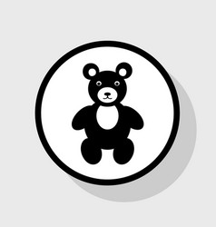 Teddy bear sign flat black vector