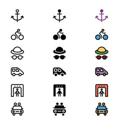 Travel responsive icons 15 vector
