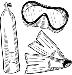 doodle scuba mask flippers tank vector image