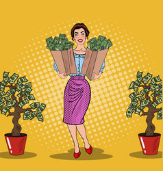 Pop art happy rich woman holding bags with money vector