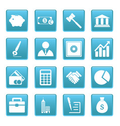 Business icons on blue squares vector